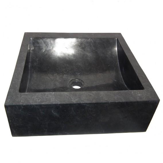 Vasque marbre 45cm carrée noire