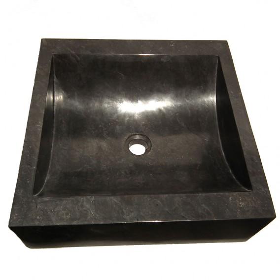 Vasque salle de bain marbre noir 45cm carrée