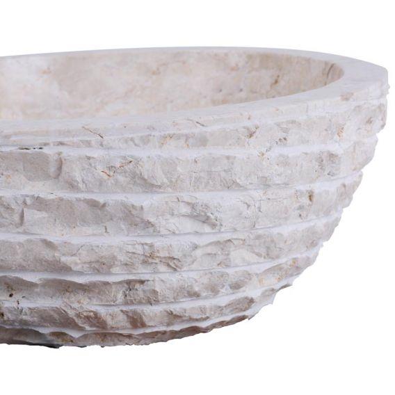 Vasque marbre oblique Ø40cm creme MR-M