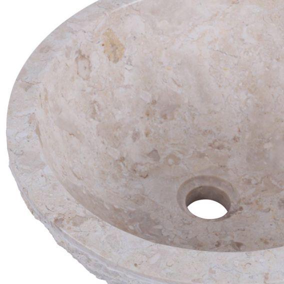 Vasque marbre creme oblique Ø40cm brute MR-M