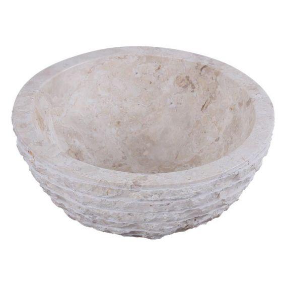 Vasque marbre beige oblique Ø40cm brute MR-M