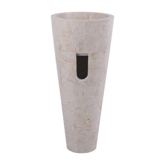 Vasque pied beige marbre Ø40cm lisse PA22-FP