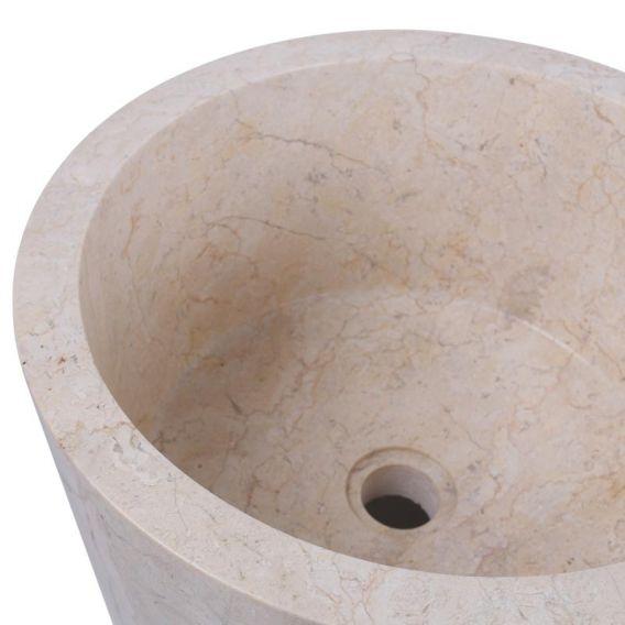 Vasque colonne creme marbre Ø40cm lisse PA22-FP