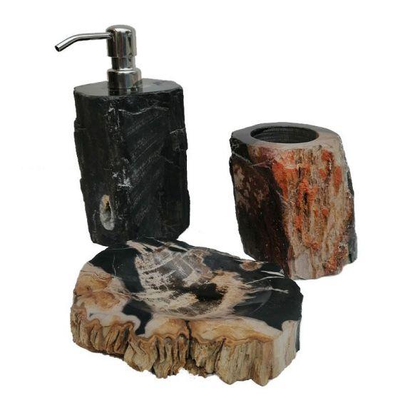 Ensemble accessoires salle de bain en bois fossilisé noir