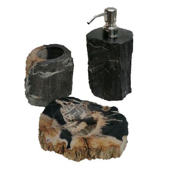 Ensemble accessoires salle de bain en bois noir