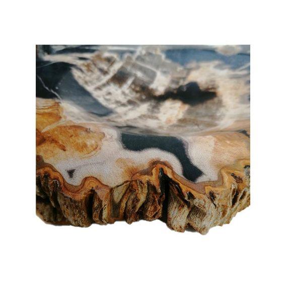 Porte-savon en bois fossilisé noir détail