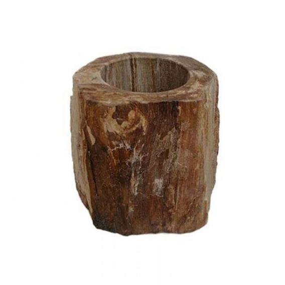 Gobelet en bois pétrifié marron