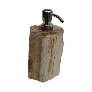 Distributeur de savon en bois fossilisé marron
