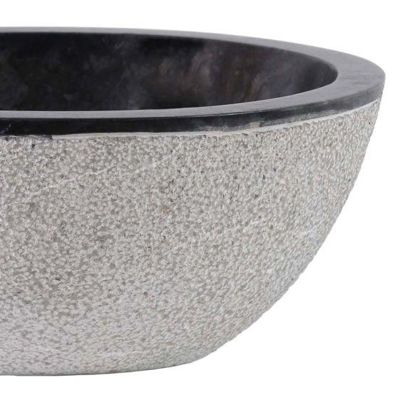 Vasque marbre oeuf noireØ40cm points MR-D