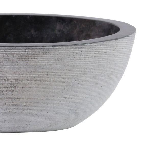 Vasque marbre ronde noire Ø40cm traits MR-G
