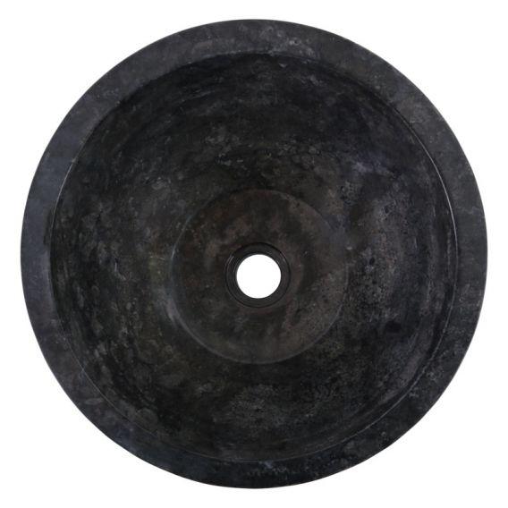 Vasque marbre design noire Ø40cm traits MR-G