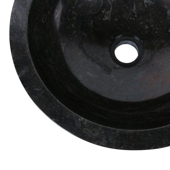 Vasque marbre moderne Ø40cm lisse KC-P noire