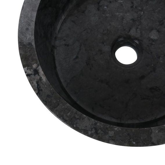 Vasque marbre à poser Ø40cm traits LY-G noir