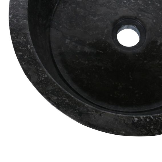 Vasque marbre poncée Ø40cm lisse LY-P noire