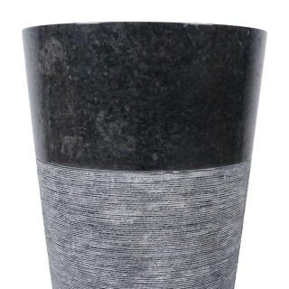 Vasque colonne noir marbre Ø40cm traits PA22G