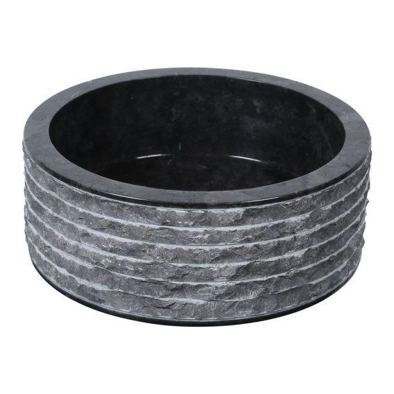 Vasque marbre cylindre Ø40cm brute SL-M noir