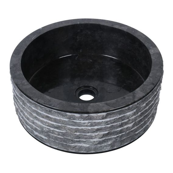 Vasque marbre design Ø40cm brute SL-M noir