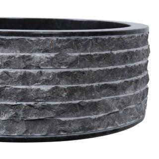 Vasque marbre à poser Ø40cm brute SL-M noir