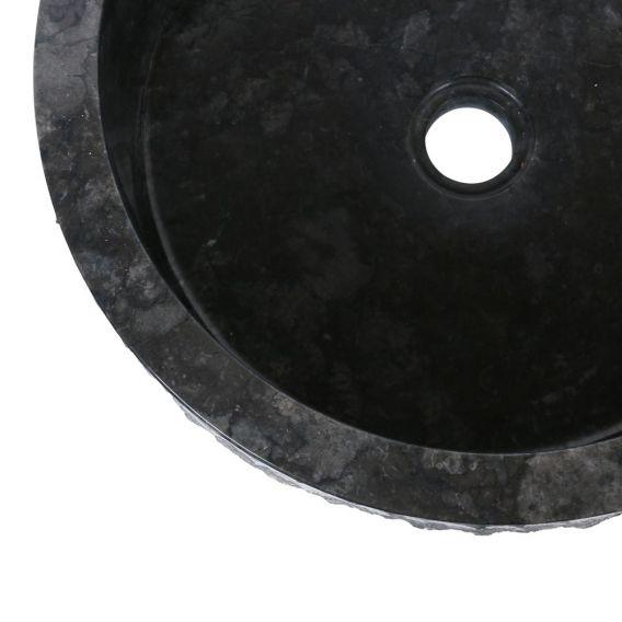 Vasque marbre salle de bain Ø40cm brute SL-M noire