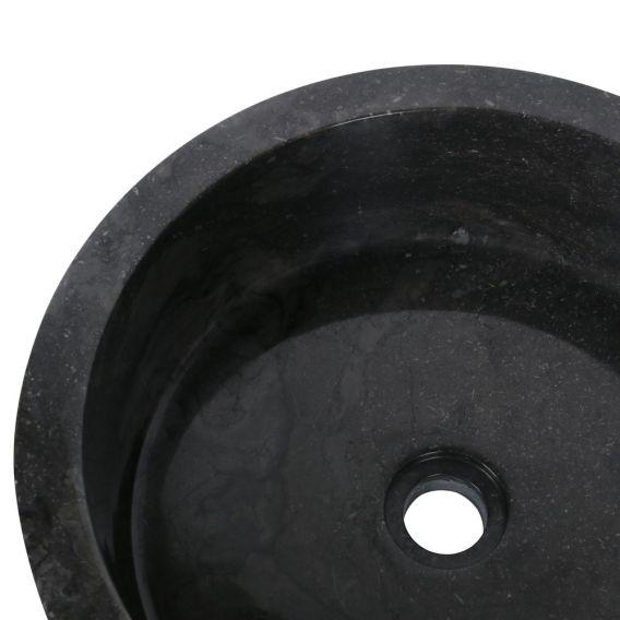 Vasque marbre moderne noire Ø40cm traits SL-G