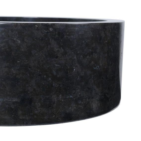 Vasque marbre design noire Ø40cm lisse SL-P