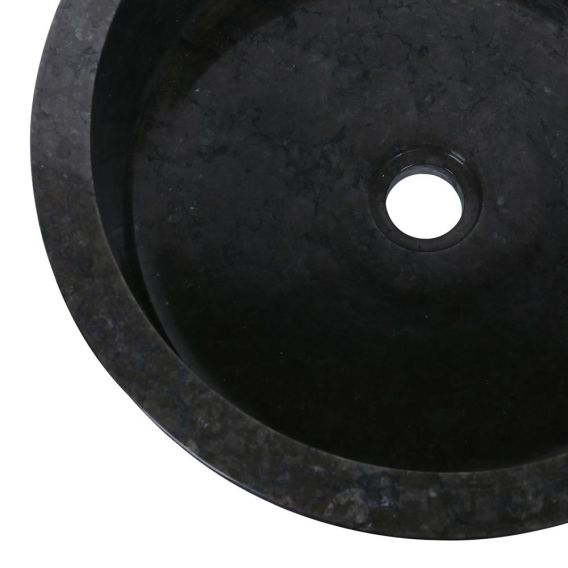 Vasque marbre ronde noire Ø40cm lisse SL-P